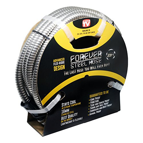 Forever Steel Hose (25' 304 Stainless Steel Garden Hose - As Seen On TV - Lightweight, Kink-Free, and Stronger Than Ever, Durable and Easy to Use ()