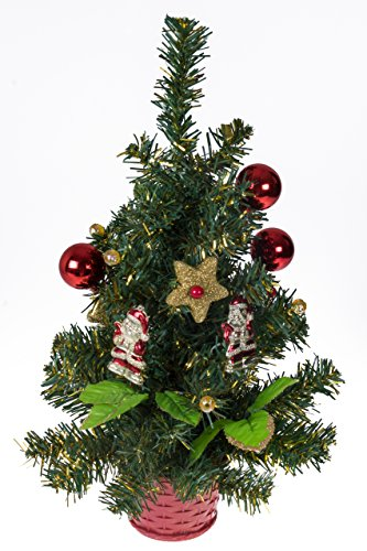 Clever Creations Table Top Christmas Tree with Ornaments | Red and Gold Christmas Decor Theme Shatter Resistant Ornaments, and Star | Stands 16