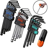 REXBETI Hex Key Allen Wrench Set, SAE Metric Star Long Arm Ball End Hex Key Set Tools, Industrial Grade Allen Wrench Set, Bonus Free Strength Helping T-Handle, S2 Steel