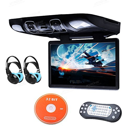 Digital Widescreen Car Overhead Coach Caravan Roof Flip Down DVD Player Game Disc Children IR Headphones (Blue) Included ()