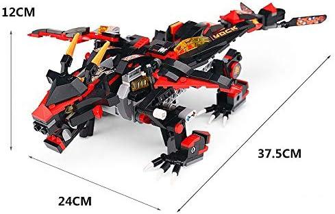 Modbrix 2,4 Ghz Ferngesteuerter Ninja Mech Drache Schwarzer Drachenblitz Konstruktionsspielzeug, 433 Klemmbausteine