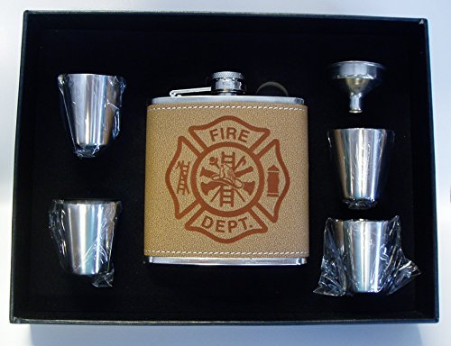(Fireman Fire Dept Fire Fighter Shiel Leather Engraved 6 oz Stainless Steel Flask with 4 Stainless Steel Shot Glasses and Funnel In A Black Presentation Box)