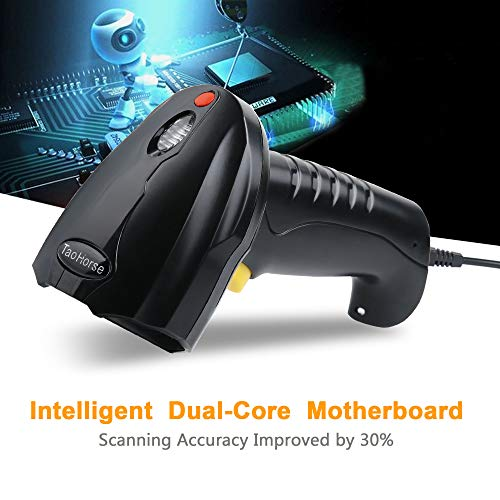 TaoHorse Handheld USB Barcode Scanner Wired Laser 1D Bar Code Reader with Automatic Continuous Scanning for POS PC Laptop Plug and Play by TaoHorse (Image #1)