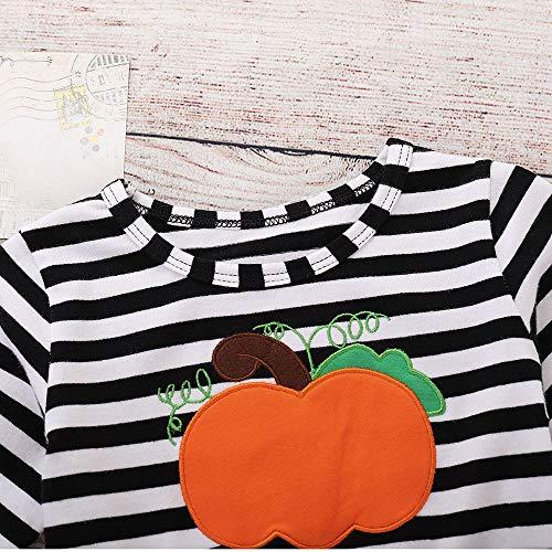 Imprimé Halloween Angelof Multicolore Bébé Ensemble Rayé Enfants Robe Manches Filles Longues Decoration Citrouille Costume Bandeaux 8F6dqF