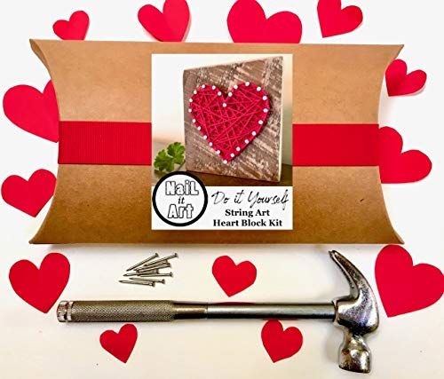 String art kit Craft kit. Do it yourself heart art project for adults, tweens and kids 9-12. By Nail it Art. Perfect Valentines'Day gift for craft lovers! from Nail it Art