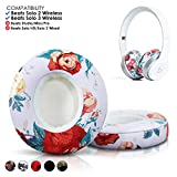 Wicked Cushions Beats Solo 2 Ear Pad Replacement - Compatible with Solo 2 & 3 Wireless On Ear Headphones (Does NOT Fit Beats Studio) | Floral White