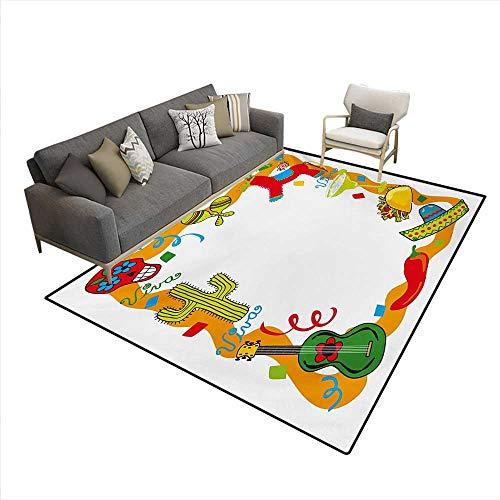 (Carpet,Cartoon Drawing Style Mexican Pinata Taco Chili Pepper Sugar Skull Pattern Guitar,Non Slip Rug Pad,Multicolor,6'x8')