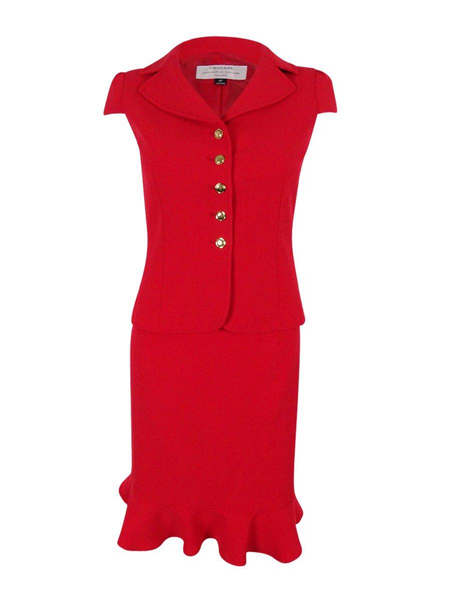 Tahari ASL Women's Petite Crepe Short Sleeve Skirt Suit, Red, 0