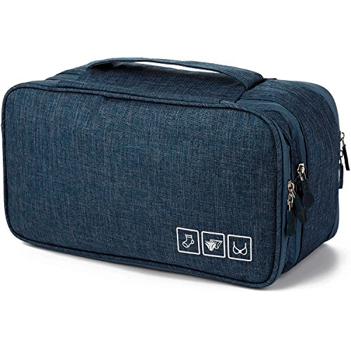 MODARANI Threeply Travel Bra Underwear Organizer Case Waterproof Travel Toiletry Bag Navy by MODARANI