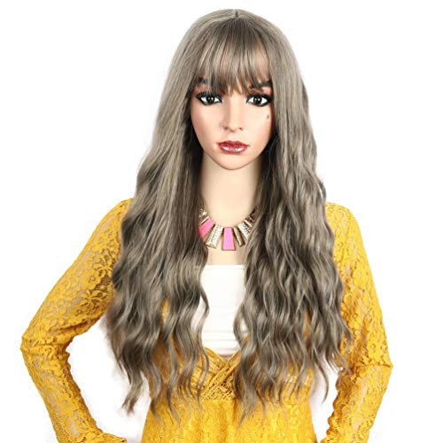 Long Natural Wavy Wig for Women with Bangs No Lace Front Fashion Synthetic Full Curl Hair Wig Carnival Fancy Party Cosplay Costume 25