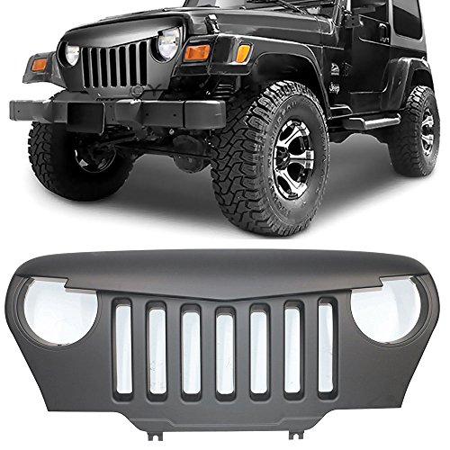 Front Grille Fits 1997-2006 Jeep Wrangler TJ | V1 Style Black ABS Angry Bird Hood Grille Front Guard Protection By IKON MOTORSPORTS | 1998 1999 2000 2001 2002 2003 2004 2005