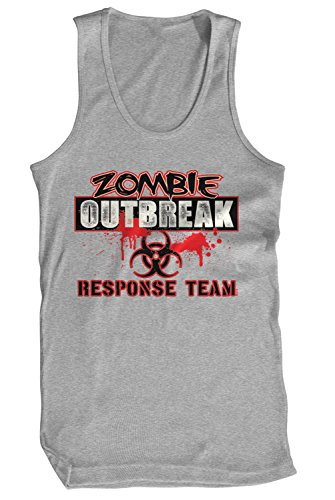 Amdesco Men's Zombie Outbreak Response Team Tank Top, Heather Gray (Halloween Sayings About Food)