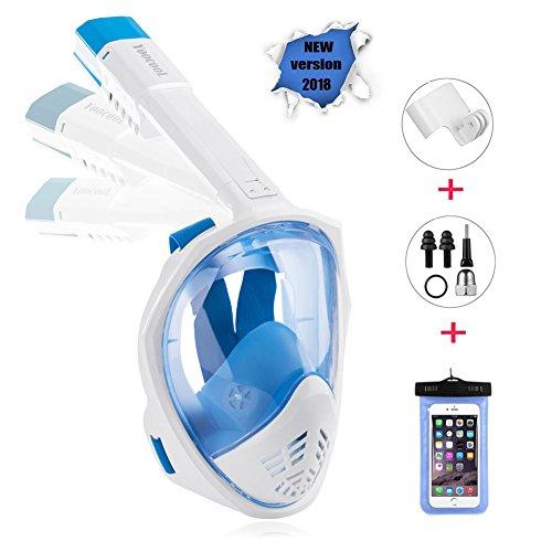 YOOCOOL Full Face Snorkel Mask Foldable 180° Panoramic View Diving Scuba Mask Free Breathing Full Face Snorkeling Mask Waterproof Phone Bag (Blue, Small/Medium)