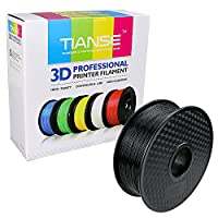 TIANSE Black 1.75mm PLA 3D Printer Filament Dimensional Accuracy +/- 0.03 mm 2.2 pound Spool by TIANSE