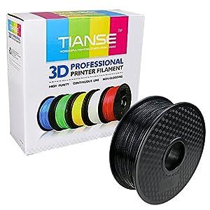 TIANSE Black 1.75mm PLA 3D Printer Filament Dimensional Accuracy +/- 0.03 mm 2.2 pound Spool by TIANSE