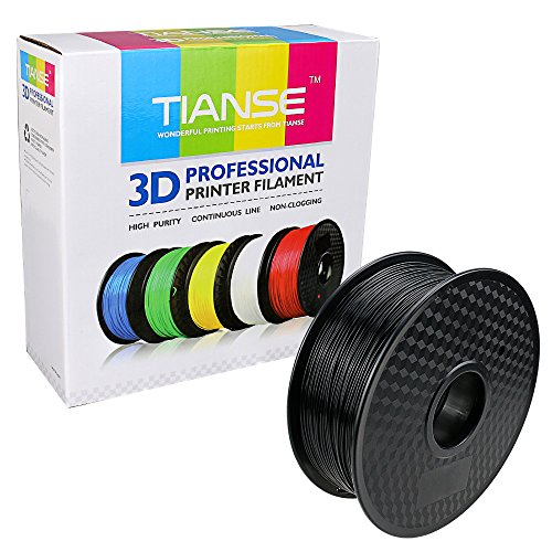 TIANSE Black 1.75mm PLA 3D Printer Filament Dimensional Accuracy +/- 0.03 mm 2.2 pound Spool