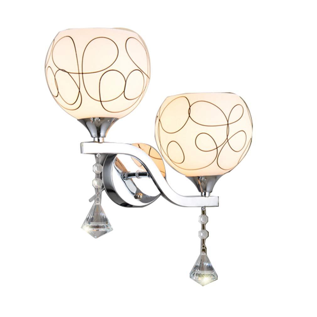 Double Head With Pull Switch Wandleuchte- Kristall Wandlampe - Moderne minimalistische Wandlampe Ganglampe Treppen Flurlampe Nachttischlampe Dekoration Schlafzimmerlampe (Farbe   Double headless pull switch)