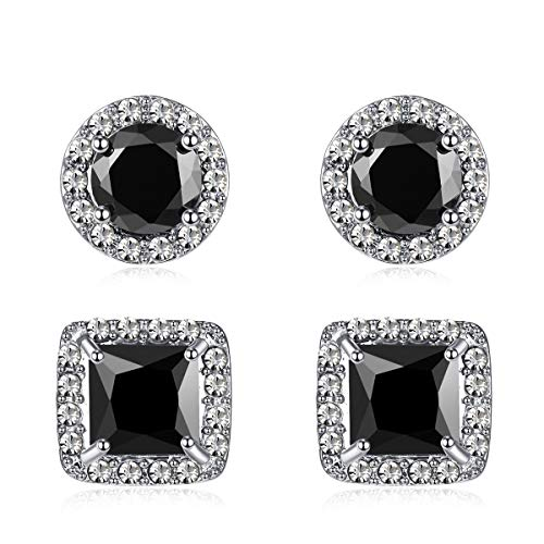Quinlivan Duo 2pairs Cubic Zirconia Stud Earrings 10mm, Round Square Cut Rhinestone Halo Earrings Hypoallergenic for Women, Girls (black) ()
