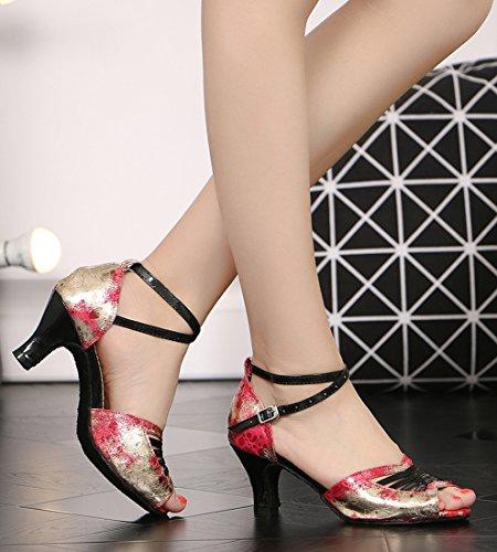 Tda Dames Enkelbandje Peep Toe Comfort Leer Salsa Tango Ballroom Latin Modern Dance Trouwschoenen Rood