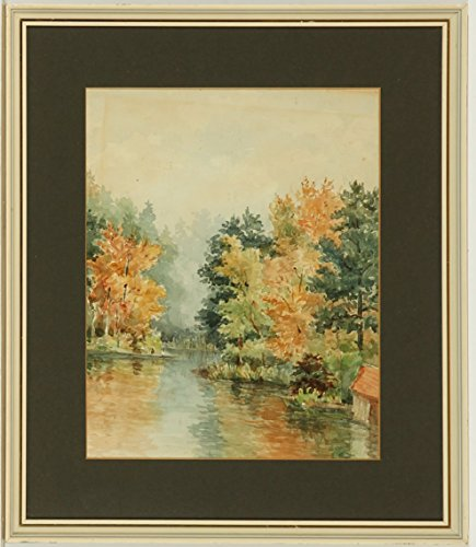 Sulis Fine Art Framed Early 20th Century Watercolour - River Landscape
