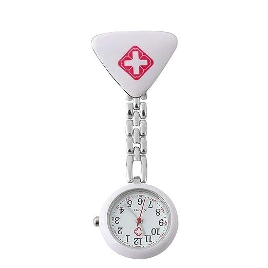 Enfermera médica de la Moda Relojes de Cuarzo de Acero Inoxidable Enfermera Triangular Redonda Médico Reloj Colgante Médico Reloj de Bolsillo: Amazon.es: ...