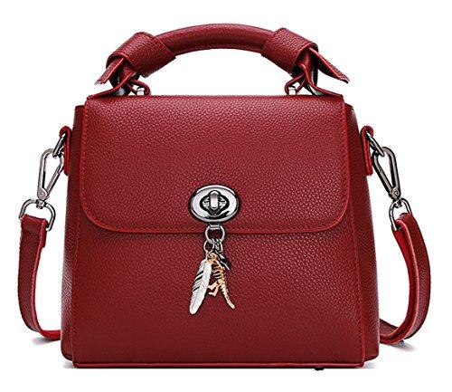 SAIERLONG Ladies Designer Leather Tote Shoulder Bags Royal Blue Red Wine
