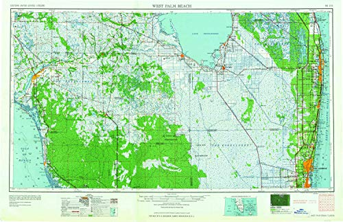 YellowMaps West Palm Beach FL topo map, 1:250000 Scale, 1 X 2 Degree, Historical, 1958, Updated 1958, 22.1 x 34.1 in - Tyvek
