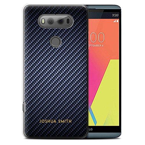 Fibre Effect Case for LG V20 F800/H990/VS995 / Blue Stamp Design / Initial/Name/Text DIY Cover (Carbon Fibre Effect)