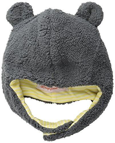 Magnificent Baby Baby Boys' Magnetic Smart Little Bear Fleece HAT, Ash/Lemon, 0-6 Months