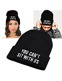 Insten Unisex Knit Hip-hop Beanie Hat, Black with You Cant Sit With Us