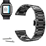 22mm Stainless Steel Butterfly Buckle Watch Band For Pebble Time Steel 2015 (YESOO Retail Packaging - 180 Days Warranty) (Link Black)
