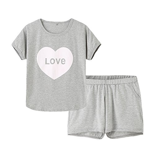 MyFav Pajama Set Big Girls Comfy PJS Lovely Heart Shape Printed Sleepwear Nighty Grey, 6Y ()