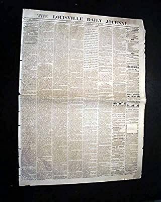 Rare LOUISVILLE KY Kentucky Civil War 1863 Newspaper w/ John S. Mosby Wounded LOUISVILLE DAILY JOURNAL, Kentucky, Aug. 29, 1863