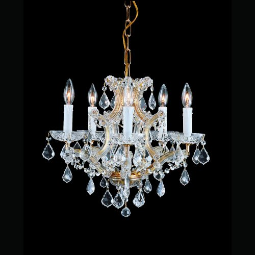 Crystorama 4405-GD-CL-MWP, Traditional Crystal 1 Tier Chandelier Lighting, 6 Light, 360 Watts, Gold - Traditional Chandelette