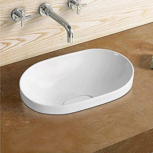 (Elimax's Bathroom Semi-Recessed Porcelain vessel drop-in Sink Self-Rimming With Decorative China Drain Cover & Free Chrome Pop Up Drain SR-5006B)