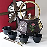 Japanese Iron Tea Set 8 Pieces - Large Teapot + Lid + 4 Iron Cups + Trivet + Wood Lid Holder - Premium Quality - Gift Box - 100% Hand Made - American FDA Approved (Nature Discovery)