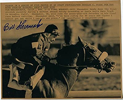 Bill Shoemaker Kentucky Derby Jockey HOF Last Ride Signed Autograph Press Photo - Autographed Horse Racing Photos