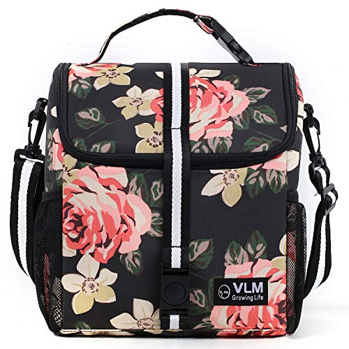 VLM Lunch Bag for Women,Water/Leakproof Insulated Lunch Box with Adjustable Shoulder Strap Foldable Reusable Zipper Cooler Lunch Tote Bag for Work,School,Picnic,Camping(Floral 1)
