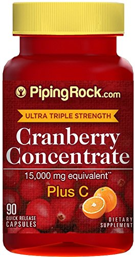 Piping Rock Ultra Triple Strength Cranberry Concentrate 15000 mg Plus C 90 Quick Release Capsules Dietary Supplement