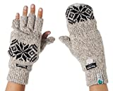 Alkii 3M Thinsulate Thermal Insulation Fingerless Texting Gloves with Mitten Cover - Cream