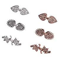 PH PandaHall 6 Pairs 3 Shapes Alloy Baroque Spade Cape or Cloak Clasp Fasteners Decorative Sew On Hooks and Eyes for Cardigan Cape or Cloak (Antique Silver, Red Copper)