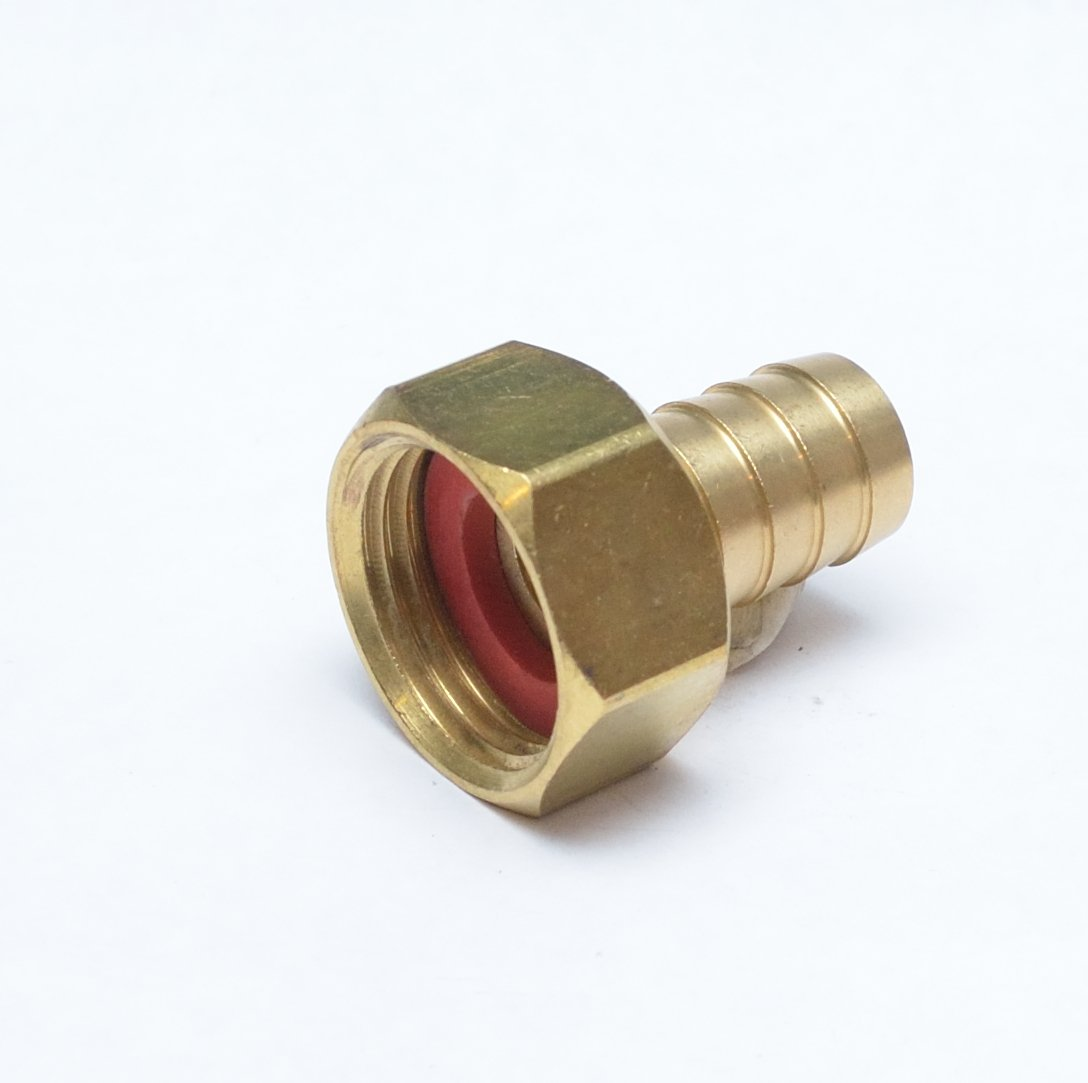 """FASPARTS 5/8"""" Hose ID/Hose Barb to 3/4"""" Female GHT Garden Hose Thread Straight Brass Swivel Fitting House/Boat/Lawn/Power Wash/Irrigation"""