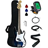 Crescent Electric Bass Guitar Starter Kit - Transparent Blue Color (Includes Crescent Digital E-Tuner)