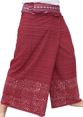 RaanPahMuang Brand Striped Cotton Japanese Samurai Belt Wrap Pants, Large, Red Violet