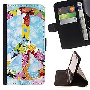 Momo Phone Case / Flip Funda de Cuero Case Cover - Hippie símbolo de paz de las flores coloridas de primavera - Samsung Galaxy Core Prime