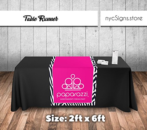 Paparazzi Table Runner - Zebra Stripe Pattern Background Logo Imprint - Size 2ft x 6ft from MansiPrintShop.com Inc