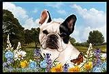 French Bulldog White/Black - Best of Breed Summer Flowers Floor Mat