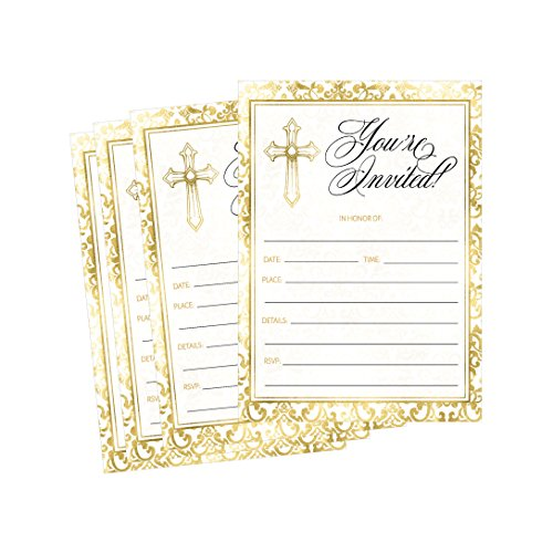 50 Gold Religious Invitations, Confirmation, Holy Communion, Baptism, Christening, Baby Dedication or Blessing, Reconciliation, 1st First Communion Invites, Easter Party Invitation Cards
