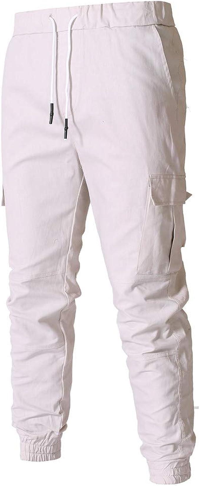 Moda Pantalones Hombre Cuerda Elasticos Vestir Deporte Color Puro ...