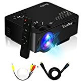 Yaufey 1500 Lumens LCD Mini Projector, Multimedia Home Theater Video Projector Support 1080P HDMI USB SD Card VGA AV for Home Cinema TV Laptop Game iPhone Andriod Smartphone with HDMI Cable(Black)